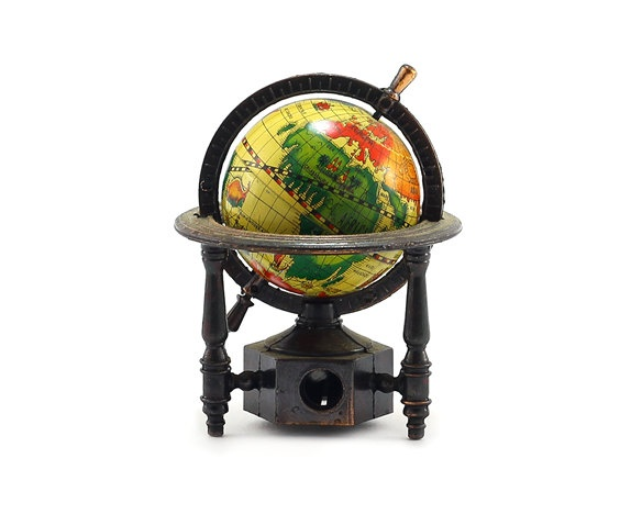 Miniature World Globe Pencil Sharpener: Metal Pencil Sharpener - Home Office, Industrial Decor, Men, Fathers Day - Red, Green, Yellow, Brown. $15.00, via Etsy.