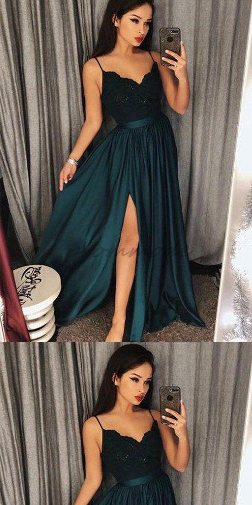 Sexy Dark Green Spaghetti Straps Split Lace Long Prom Dress With Belt f41ec6514fbb