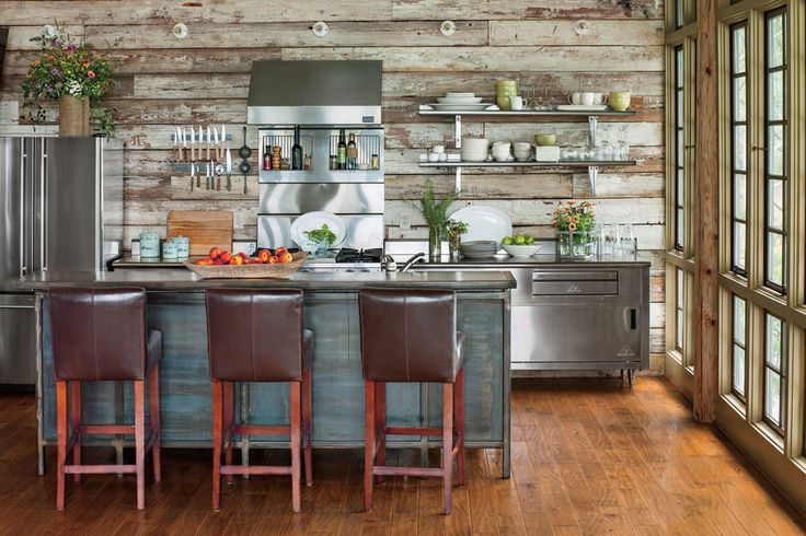 Open shelving in the kitchen will help confine your lake house dishware to the essentials.