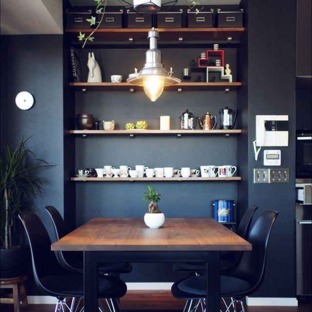 マスターウォール/照明/IKEA/モノトーン/収納/ダイニングテーブル…などのインテリア実例 - 2015-03-19 13:07:24 | RoomClip(ルームクリップ)