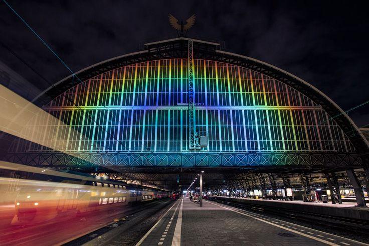 Daan Roosegaarde's rainbow on Central station Amsterdam