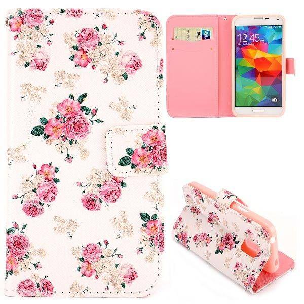 Bloemen bookcase hoesje voor Samsung Galaxy S5 mini