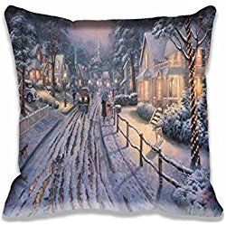Custom Design Hometown Christmas Memories by Thomas Kinkade Pillow Cases Zippered , Standard Size Holidays Pillowcase - 20X20inch Christmas Cushion Covers Twin Side Print