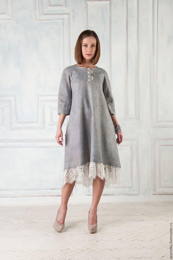 Купить Валяное платье Тонкий намек - одежда из войлока, платье коктейльное, авторская ручная работа