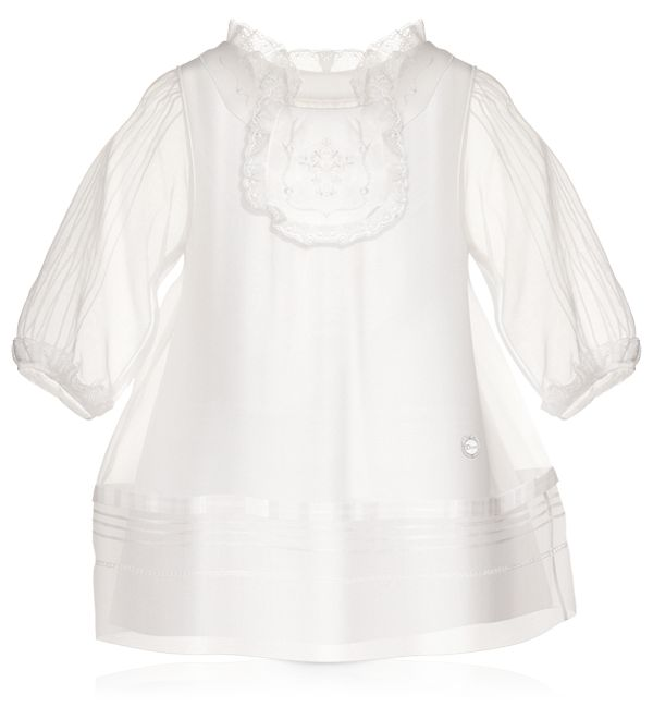 BABY DIOR - Milk white silk organza dress