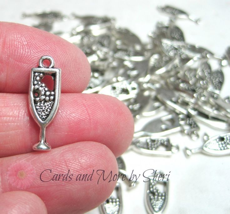 Silver Wine Goblet Glass Charms (10)