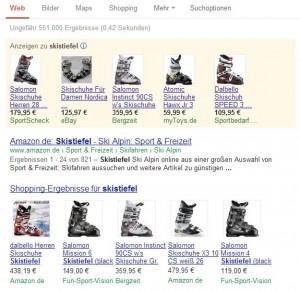Product Listing Ads (PLA) aus der Google Suchergebnisseite, hier auf der Suche nach Skistiefeln.