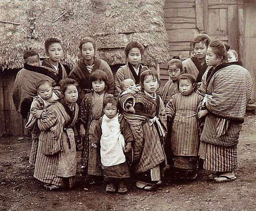 A pack of kids from rural Japan.