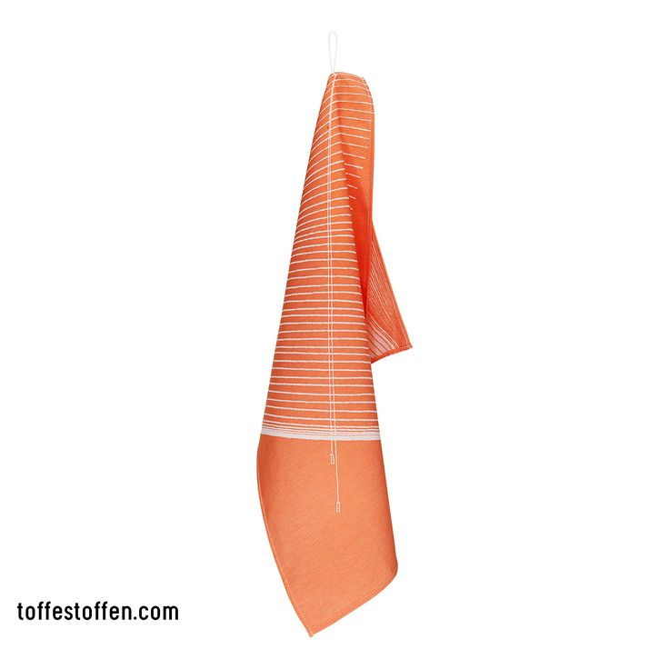 Hangin' around - orange/white stripe. Tea towel 100% bio cotton. Woven in Dutch TextileMuseum Tilburg. What happens with a print when you hang up the tea towel? Loop is extension of the print. www.toffestoffen.com