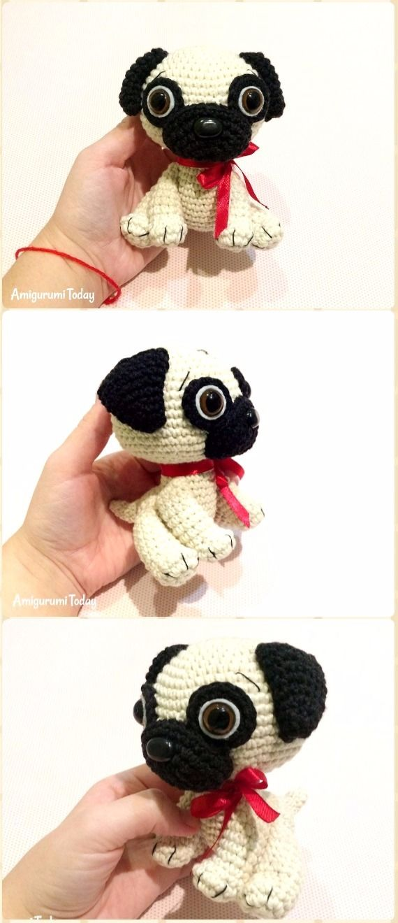 Crochet Amigurumi Baby Pug Dog Free Pattern - Amigurumi Puppy Dog Stuffed Toy Patterns