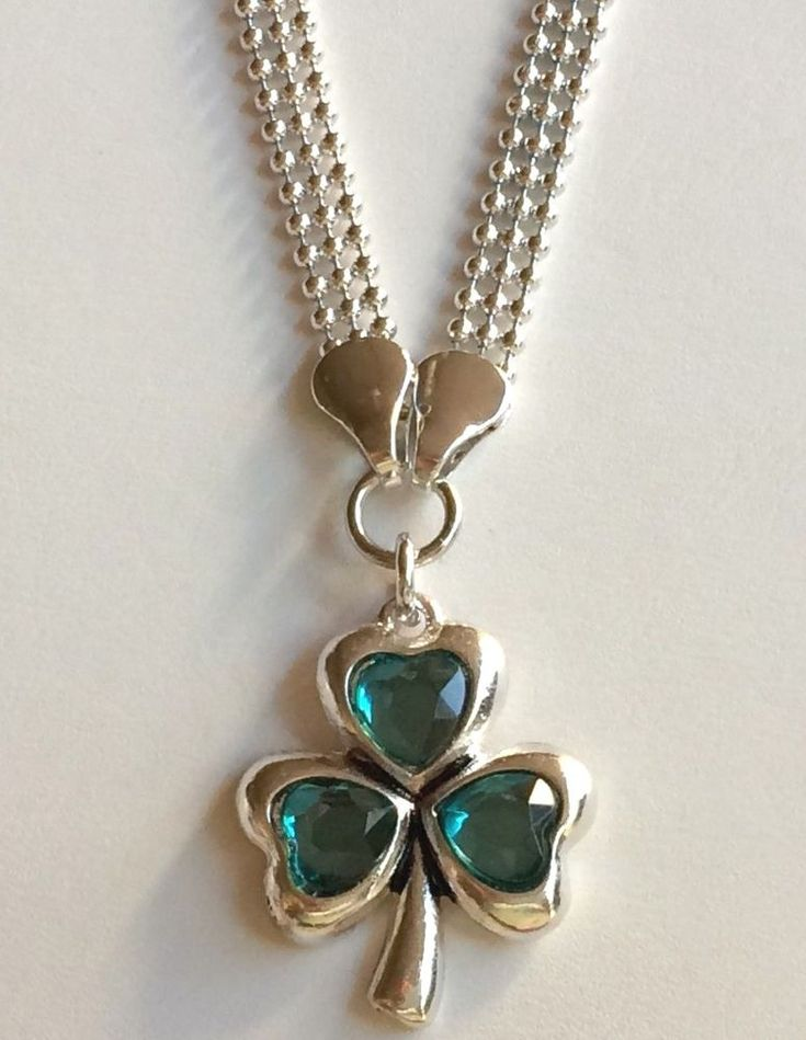 "Silver Shamrock Necklace Plated Plus Size 24-25"" St Patricks Day Celtic Irish #Unbranded #Pendant"