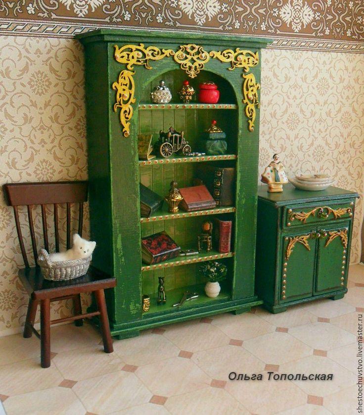 Купить кукольная миниатюра. Книжный шкаф. - комбинированный, кукольная мебель, кукольная миниатюра, миниатюрная мебель