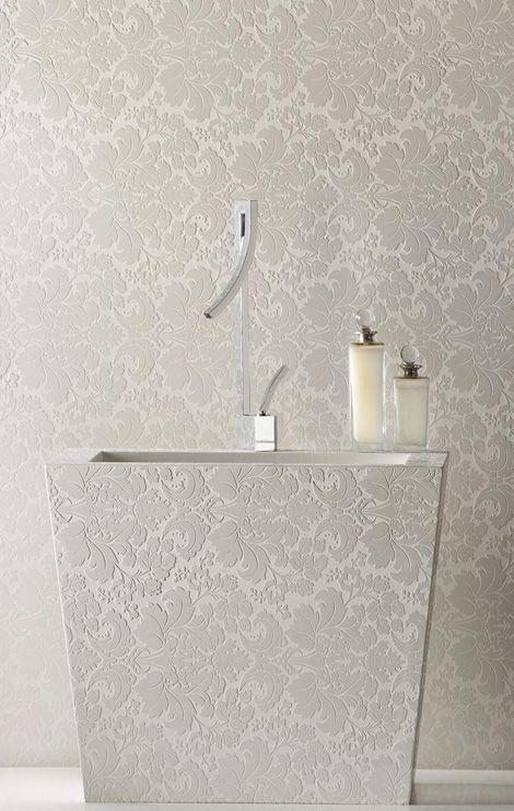 Gorgeous Motivo White Lace Caesarstone bathroom... every girl's dream boudoir!