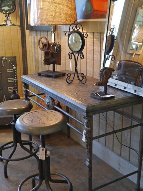 Sofa Table Two Stools Industrial Style Pinterest