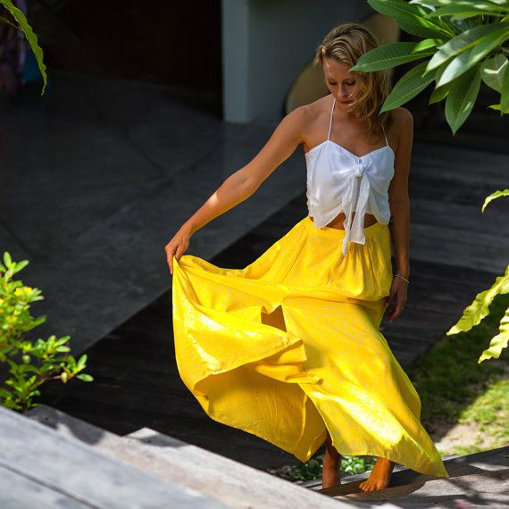 Bright Yellow & White Retro Flower Maxi Skirt  High by ljcdesignss