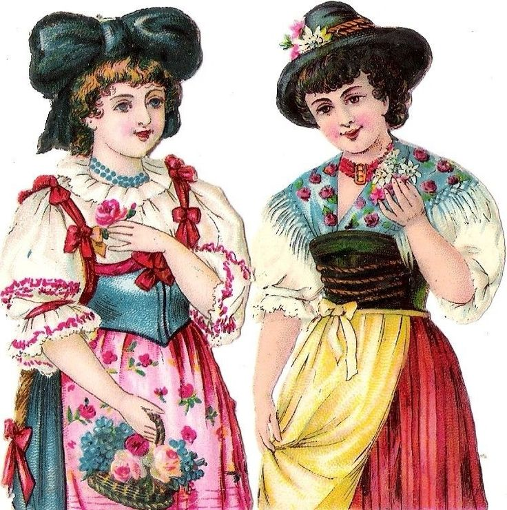Oblaten Glanzbild scrap diecut chromo Dame lady femme girl Tracht costume nation:
