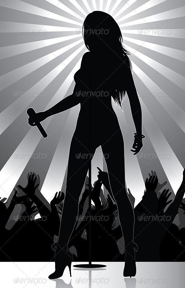 Pop Singer Silhouette On Stage Aleksandra Pop Singers