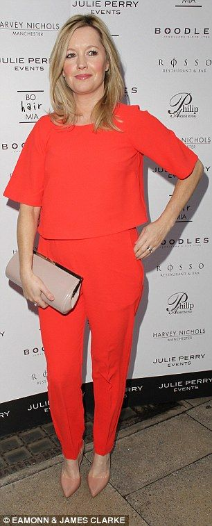 Colour pop: ActressAlex Fletcher (R) donned a bold co-ord set