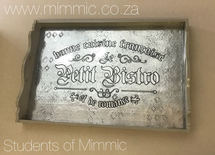 Lynne from Thursday Class created this gorgeous tray in Pewter using a large stencil with textured background. I'm not surprised that everyone she showed it to wanted one too  #Pewter #creative #decor #tray
