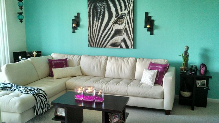 Tiffany blue living room accent wall future home decor for Tiffany blue living room ideas
