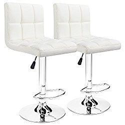 Furmax White Leather Bar Stools Counter Height Modern Adjustable Synthetic Leather Swivel Bar Stool,Set of 2 (White)