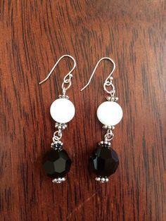 Black Swarovski and White Shell Dangle Earrings – JaeBee.com
