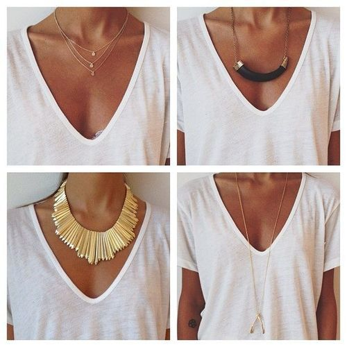 It's amazing what a necklace does to a simple white shirt.