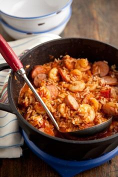 Jambalaya from Paula Deen This is the best jambalaya recipe I have found - thanks to my mom for passing it on :) We also add green peppers. We have tried it with chicken also. http://www.pauladeen.com/recipes/recipe_view/jambalaya/#