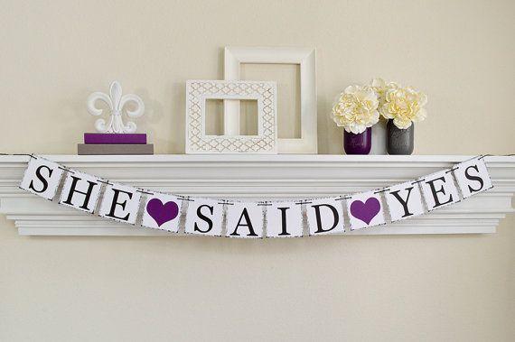 Engagement Party Ideas, She Said Yes Banner, Engagement Photo Prop, Bridal Shower Banner, Purple Bridal Shower Decorations, Plum B238