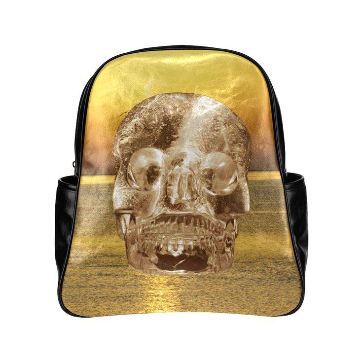 Crystal Skull Gold Multi-Pockets Backpack (Model 1636)