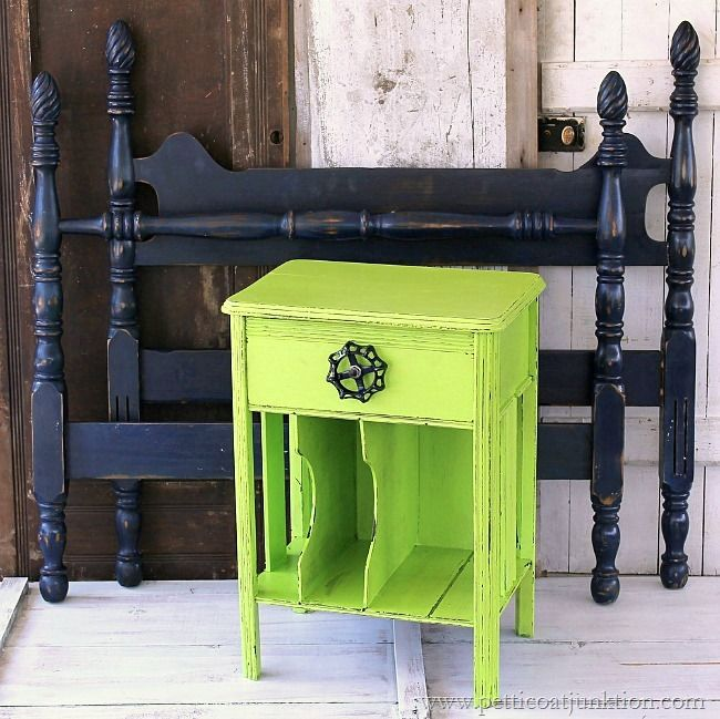lime green nightstand navy twin bed Petticoat Junktion painted furniture