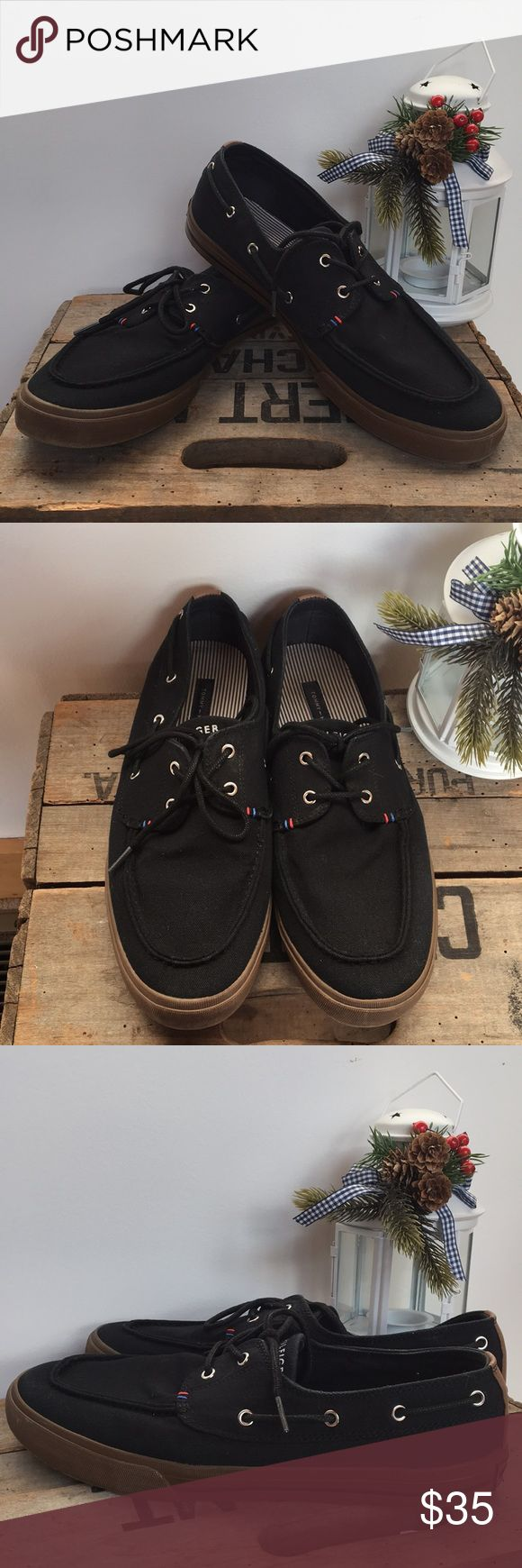 MENS Tommy Hilfiger Sneakers Black canvas boat shoes with brown shoes in excellent used condition Tommy Hilfiger Shoes Boat Shoes