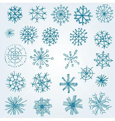 Hand drawn snowflakes vector 660123 - by kynata on VectorStock®