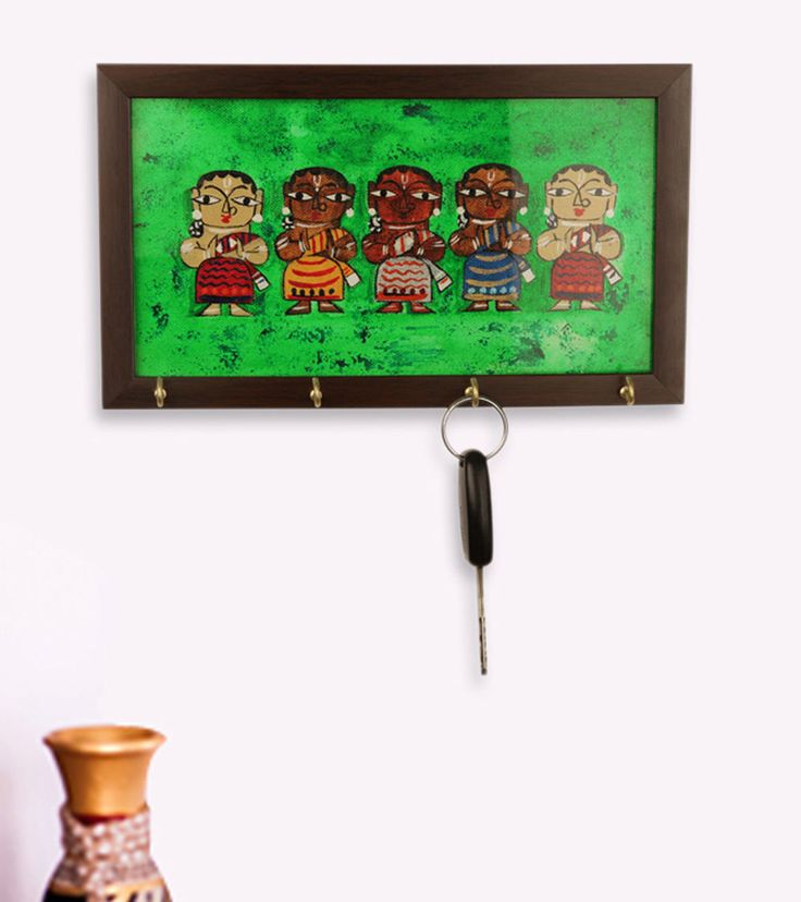 Canvas Handpainted Tribal Ladies Key Holder In Multicolour