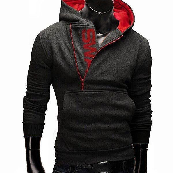 Men's Fall Winter Cool Design Hooded Side Zipper Casual Sports Hoodies