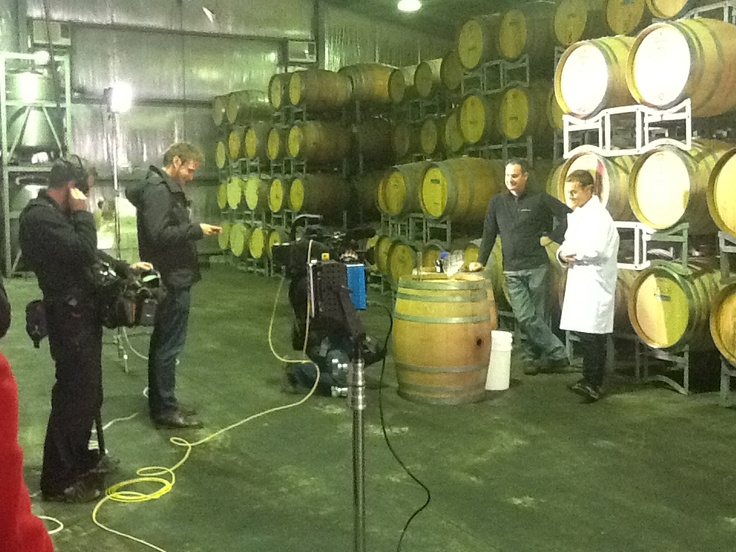 Grant Denyer & winemaker Jim Chatto gearing up for the wine blending cross