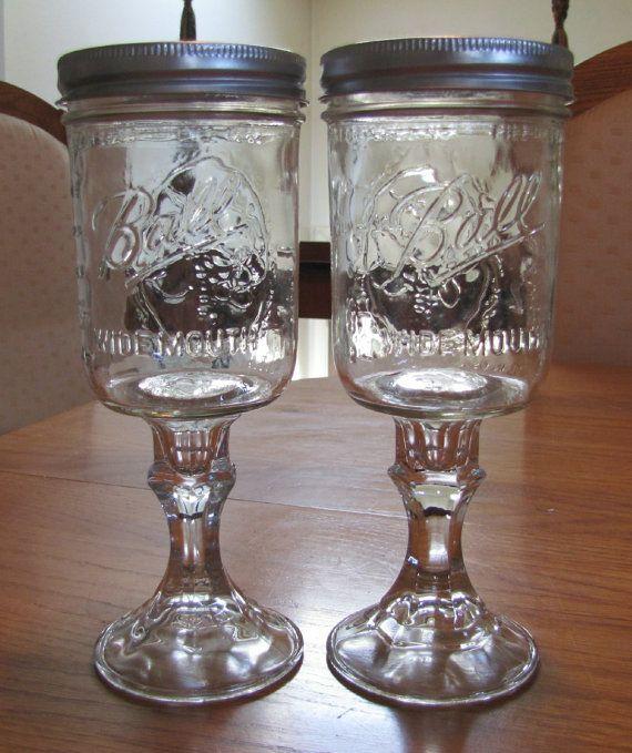 Multiples of 2 Redneck Hillbilly Mason Jar Wine Glasses - 16oz Wide Mouth Wine Glass on Etsy, $11.99