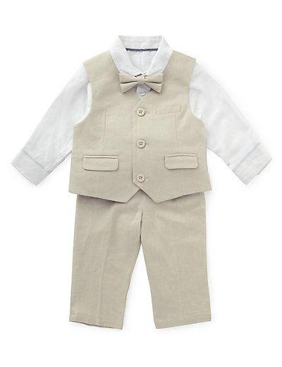 Linen Blend Christening Waistcoat Outfit | M&S
