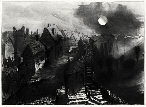 Moonlight effect, drawing by Victor Hugo, 1870. From L'Art et l'idée (Art and ideas) vol. 2, August to November 1892. (Source: archive.org)