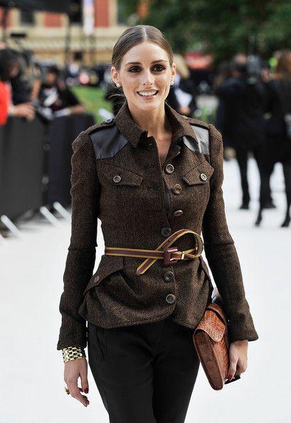 Olivia Palermo and Burberry Prorsum Leather Detail Herringbone Field Jacket