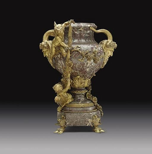 A FRENCH ORMOLU AND MARBLE JARDINIERE