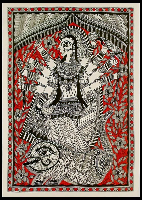 Madhubani painting - Divine Power of Durga | NOVICA