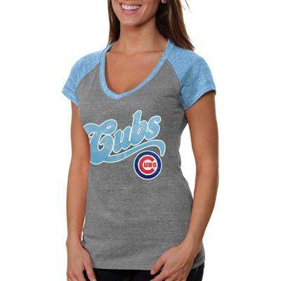 Chicago Cubs Ladies V-Neck Raglan Slim Fit Tri-Blend T-Shirt - Ash
