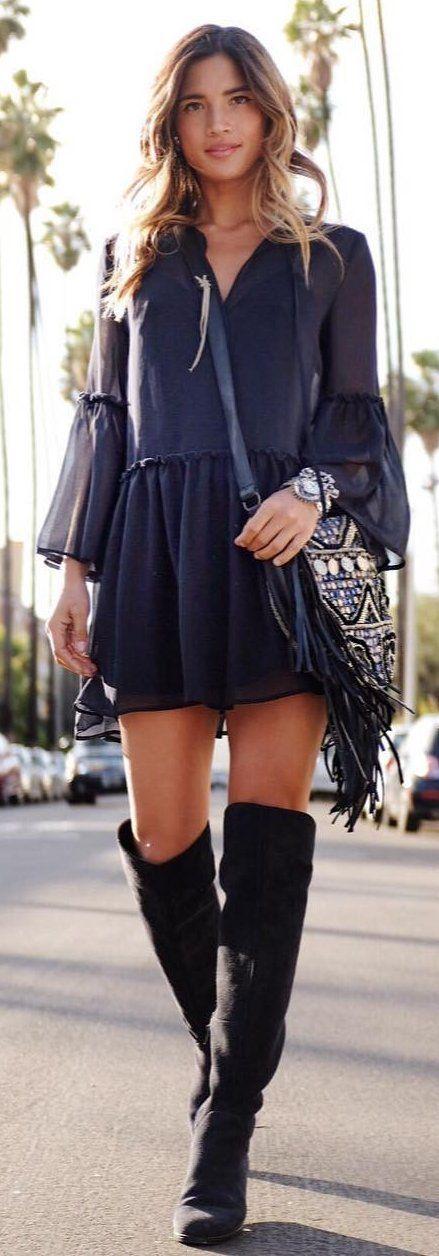 #winter #fashion / Black Dress / Printed Shoulder Bag / Black OTK Boots