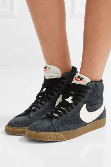 Nike - Blazer Mid Suede High-top Sneakers - Storm blue - US10