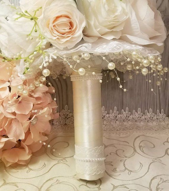 Bouquet Holder With Lace Collar White Satin Ribbon Wrapped Etsy