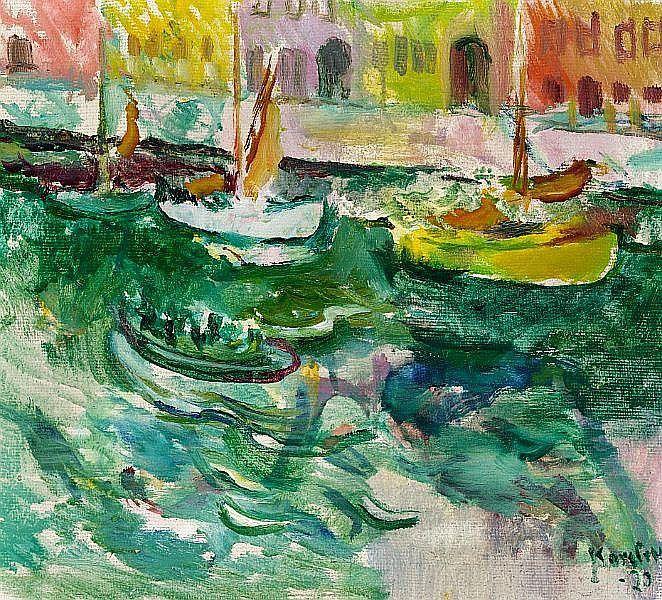 Ludvig Karsten: Scenery from Nyhavn, Copenhagen. S - by Bruun Rasmussen