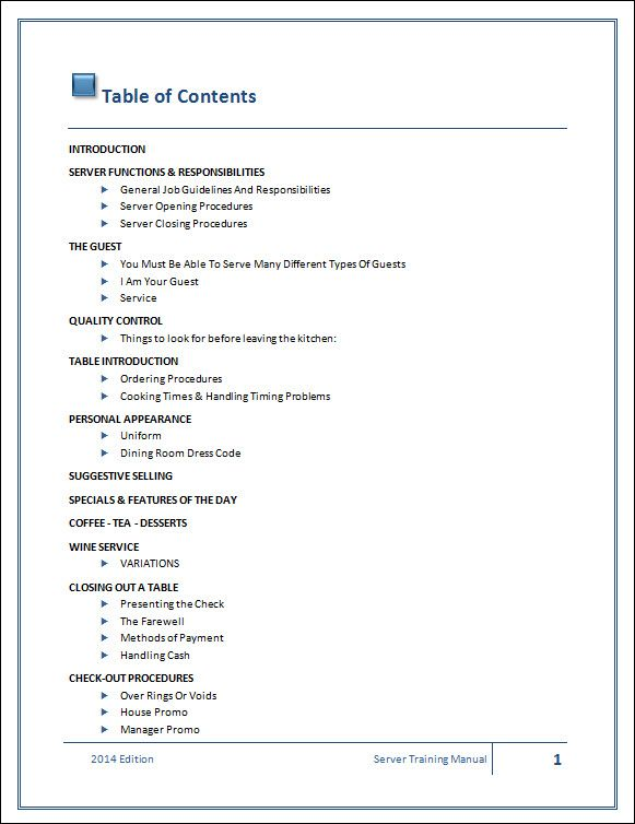 work manuel table of contents template - Google Search project - free office procedures manual template