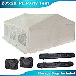 20'x20′ PE Party Tent White – Heavy Duty Wedding Canopy Carport Gazebo – with Storage Bags – By DELTA Canopies