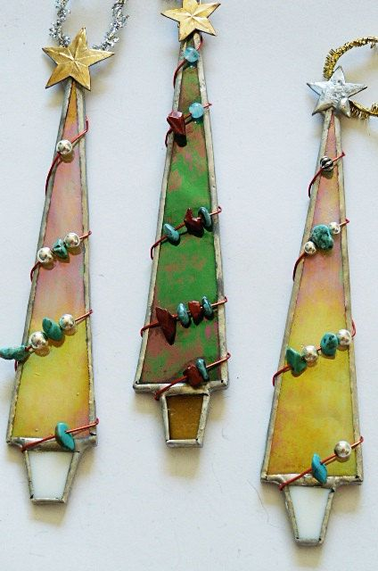 Whimsical Stained Glass Christmas Tree Ornament Set of Three Southwestern Flair by Miloglass